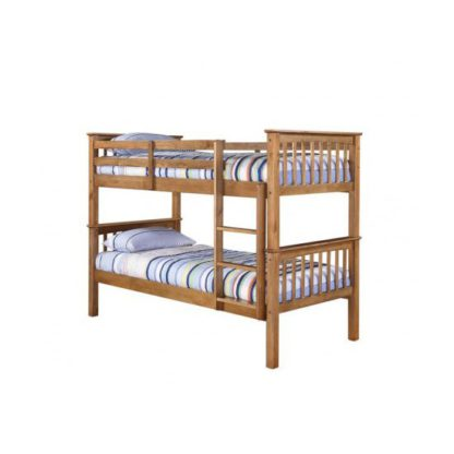 An Image of Leno Antique Wax Pine Finish 2 Tier Bunk Bed