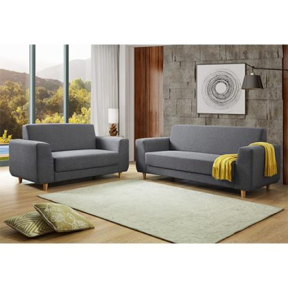 An Image of Fida Fabric 2 Seater And 3 Seater Sofa Suite In Dark Grey