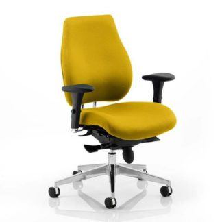 An Image of Chiro Plus Office Chair In Senna Yellow With Arms