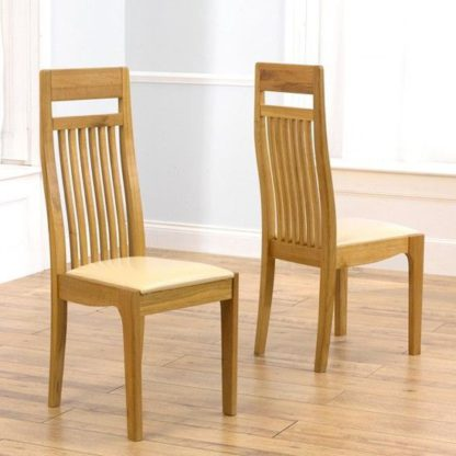 An Image of Pollux Dining Chairs In Pair With Cream Leather Seat