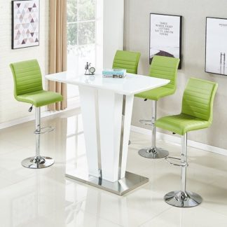 An Image of Memphis Glass Bar Table Gloss White 4 Ripple Lime Green Stools