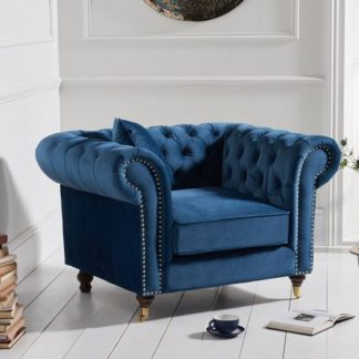 An Image of Holbrook Chesterfield Sofa Chair In Blue Velvet