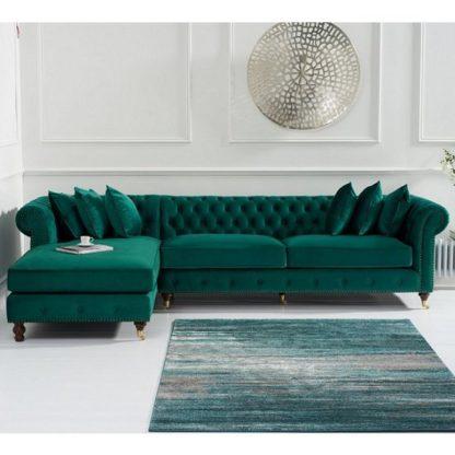 An Image of Nesta Chesterfield Left Corner Sofa In Green Velvet