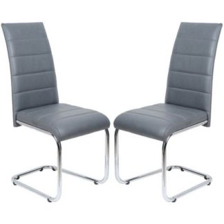 An Image of Daryl Dining Chair In Grey PU Leather in A Pair