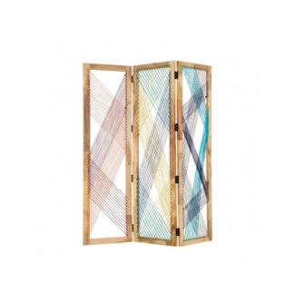 An Image of Bettina 3 Sections Room Divider In Multicoloured