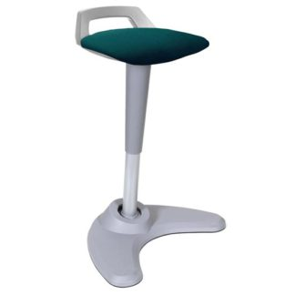 An Image of Spry Fabric Office Stool In Grey Frame And Maringa Teal Seat