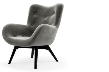 An Image of Custom MADE Doris Accent Armchair, Steel Grey Velvet with Black Wood Leg