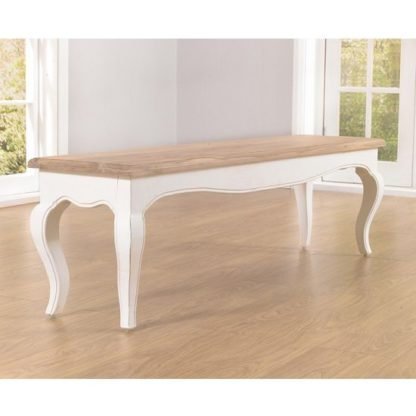 An Image of Marco Wooden Dining Bench In In Acacia And Ivory