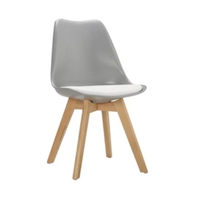 An Image of Sigmon Dining Chair In Matt Grey With White PU Seat