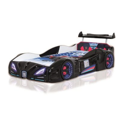 An Image of Buggati Veron Childrens Car Bed In Black With Spoiler And LED