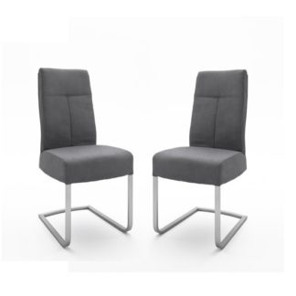 An Image of Ibsen Modern Dining Chair In Leather Look Anthracite In A Pair