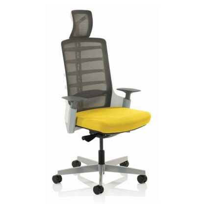 An Image of Exo Charcoal Grey Back Office Chair With Senna Yellow Seat