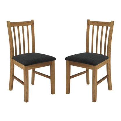 An Image of Brooklyn Wooden Oak Dining Chairs In Pair