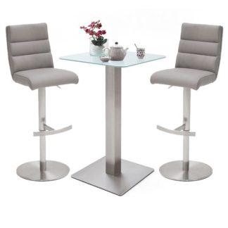 An Image of Soho White Glass Bar Table With 2 Hiulia Ice Grey Stools
