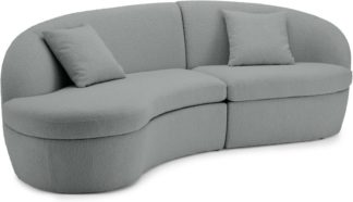 An Image of Reisa Left Hand Facing Chaise End Sofa, Steel Boucle