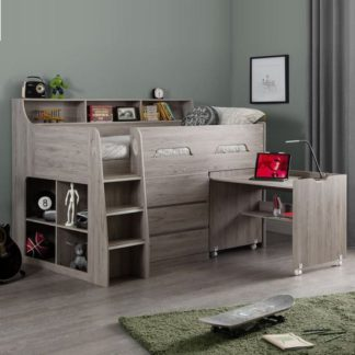 An Image of Fenton Midsleeper Children Bed In Grey Oak With Storage And Desk