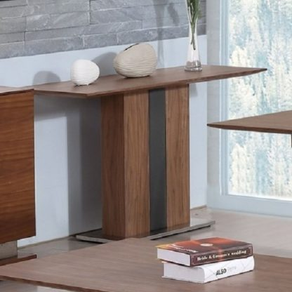 An Image of Angelo Console Table Rectangular In Walnut And Grey PU