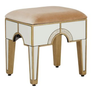 An Image of Antibes Mirrored Glass Stool In Champagne Fabric