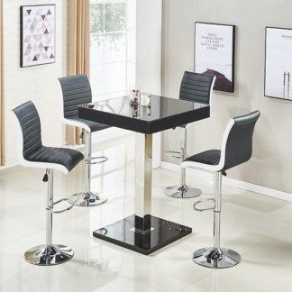 An Image of Topaz Glass Top Bar Table In Black High Gloss With 4 Ritz Stools