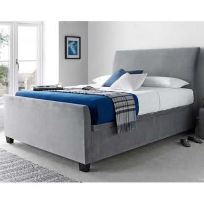 An Image of Madea Ottoman Storage Super King Size Bed In Plume Velvet Fabric