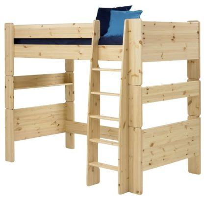An Image of Pathos Wooden High Sleeper Bed In Pine With Ladder