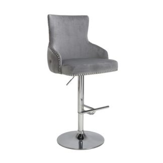 An Image of Reese Grey Brushed Velvet Bar Stools With Chrome Base