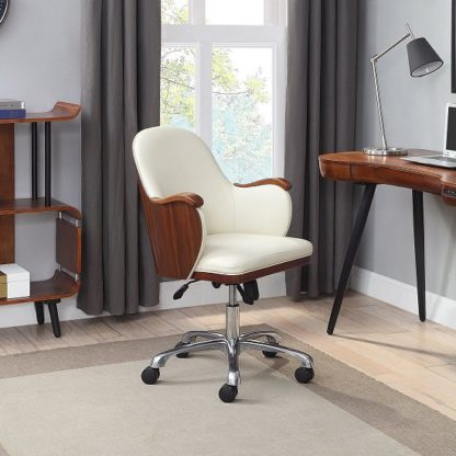 An Image of Terrence Faux Leather Office Chair In Cream And Walnut Finish