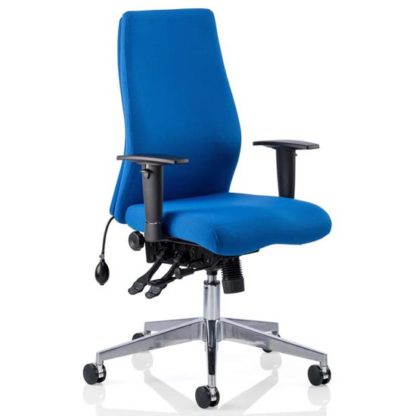 An Image of Onyx Ergo Fabric Posture Office Chair In Blue With Arms