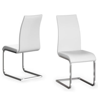 An Image of Paolo White Faux Leather Dining Chair In A Pair