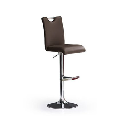 An Image of Bardo Brown Bar Stool In Faux Leather With Round Chrome Base