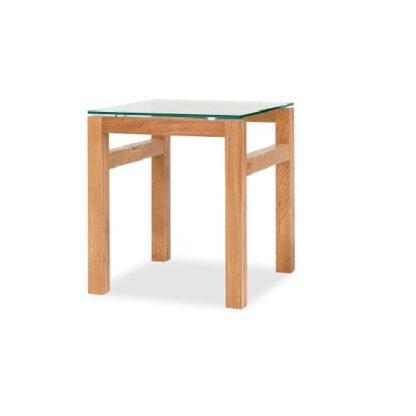 An Image of Tribe Glass Lamp Table In Clear With Solid White Oak Frame