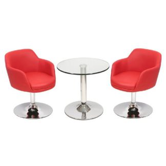 An Image of Belize Bistro Table In Clear Glass With 2 Red Bucketeer Chairs