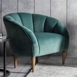An Image of Tulip Bedroom Chair In Mint Velvet