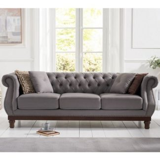 An Image of Ruskin 3 Seater Sofa In Grey Linen With Dark Ash Legs