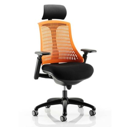 An Image of Flex Task Headrest Office Chair In Black Frame With Orange Back