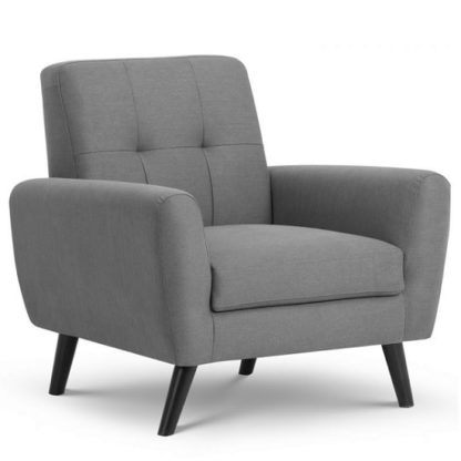 An Image of Aldonia Fabric Arm Chair In Mid Grey Linen With Wooden Legs