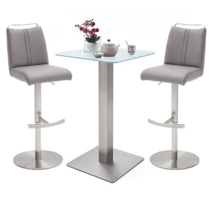 An Image of Soho White Glass Bar Table With 2 Giulia Ice Grey Stools