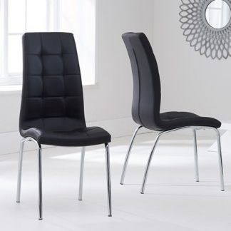 An Image of Grus Black Leather Dining Chairs In Pair