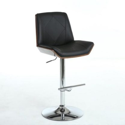 An Image of Avalon Bar Stool In Black PU And Walnut With Chrome Base