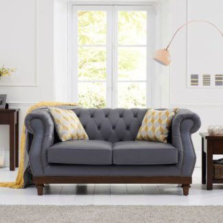 An Image of Ruskin 2 Seater Sofa In Grey Leather With Dark Ash Legs