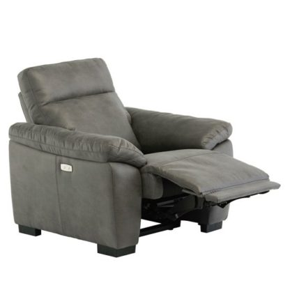 An Image of Farrow Fabric Electric Recliner Armchair In Grey