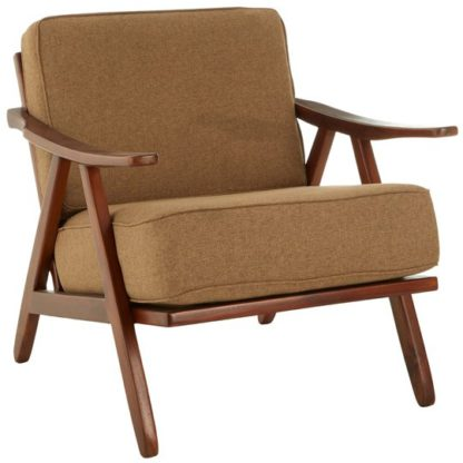 An Image of Formosa Teak Wood And Fabric Chair With Wooden Legs