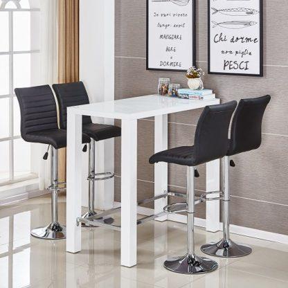 An Image of Jam Glass Bar Set Rectangular White Gloss 4 Ripple Black Stools