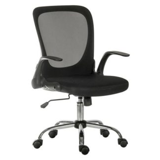 An Image of Mellen Mesh Executive Office Chair In Black With Chrome Base