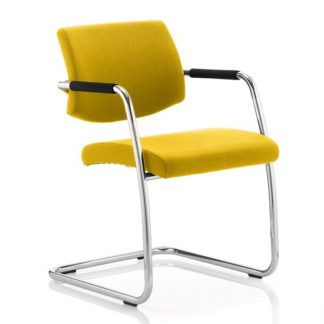 An Image of Marisa Office Chair In Yellow With Cantilever Frame