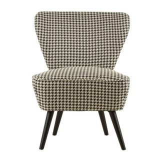 An Image of Berehynia Wingback Fabric Bedroom Chair With Black Legs