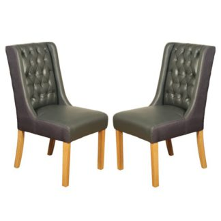 An Image of Olivia Grey Leather Dining Chair In Pair