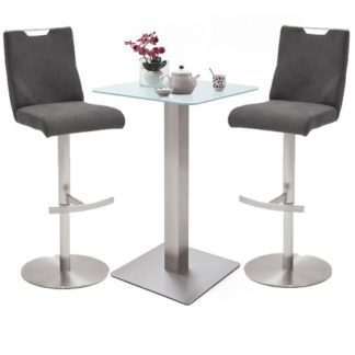 An Image of Soho White Glass Bar Table With 2 Jiulia Fabric Anthracite Stool