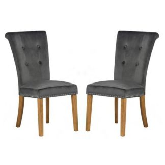 An Image of Wodan Velvet Dining Chair In Grey With Oak Legs In A Pair
