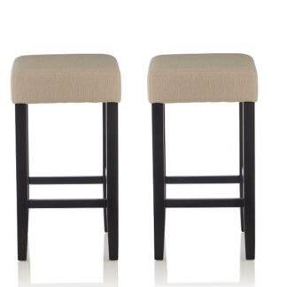 An Image of Newark Bar Stools In Mink Fabric And Black Legs In A Pair